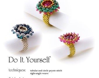 Beading Pattern Tutorial Step by step INSTANT download PDF - Ring No. 08
