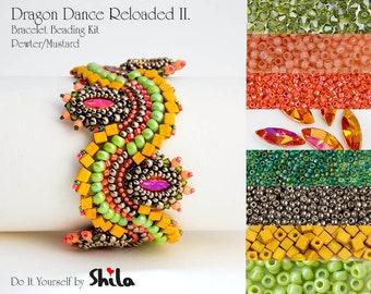 Beading Kit with Bezeled Swarovski Navette and Miyuki Cube Beads, Dragon Dance Reloaded II. Bracelet No. 26 Pewter/Mustard