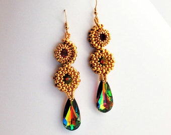 Beaded Jewellery - Stacked Earrings Gold/Vitral Medium