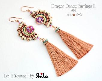 Beading Pattern Tutorial Step by step INSTANT download PDF - Dragon Dance Earrings II.#63