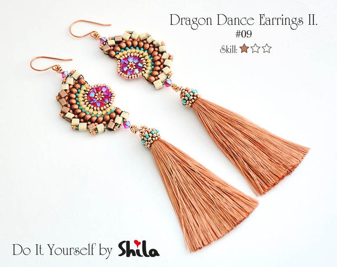 Beading Pattern Tutorial Step by step INSTANT download PDF - Dragon Dance Earrings II.#63