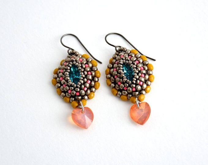 Earrings with Crystal Navette Aquamarine/Mustard