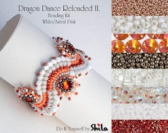 Beading Kit with Bezeled Swarovski Rivoli and Miyuki Cube Beads, Dragon Dance Reloaded II. Bracelet No. 27 White/Astral Pink