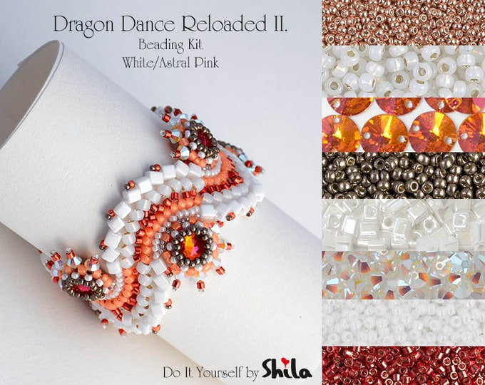 Beading Kit with Bezeled Swarovski Rivoli and Miyuki Cube Beads, Dragon Dance Reloaded II. Bracelet No. 27 White/Astral Pink