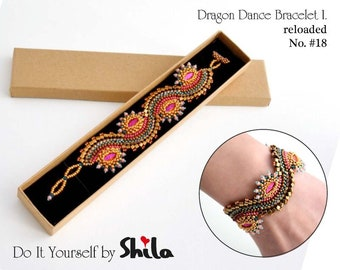 Beading Pattern Tutorial Step by step INSTANT download PDF - Dragon Dance Reloaded I. Bracelet No. 18