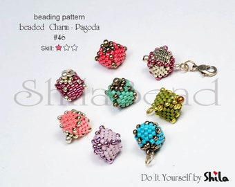 Beading Pattern Tutorial Step by step INSTANT download PDF - Beaded Charm - Pagoda #46