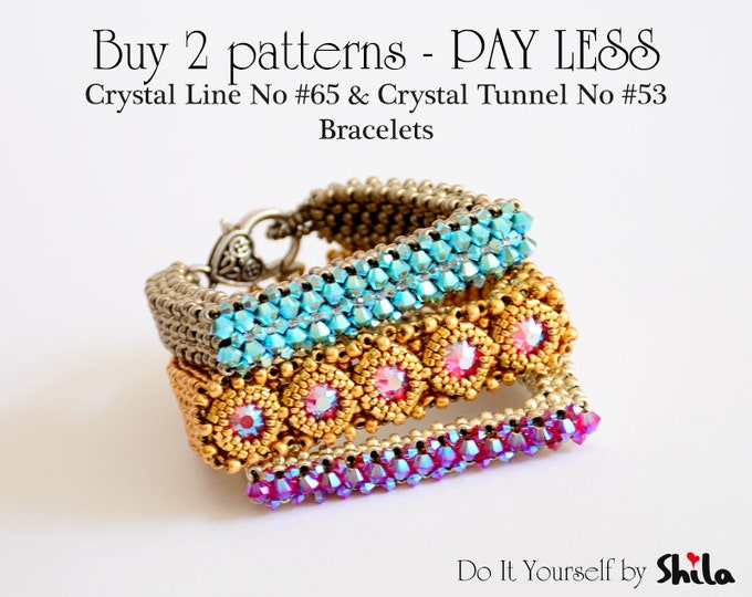 Buy 2 patterns Pay less - Step by step INSTANT download Pdf beading PATTERNs  No #65 & No #53