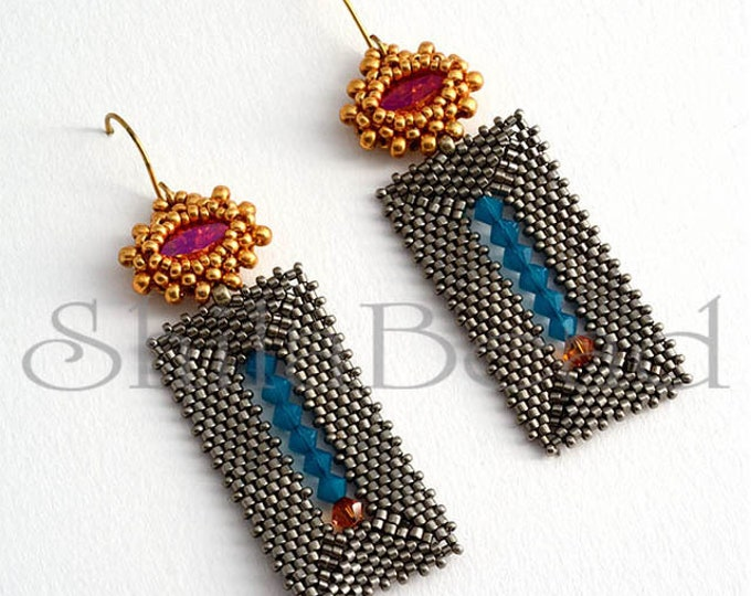 Beaded Jewellery - Steel Rectangle Earrings Blue/Astral Pink