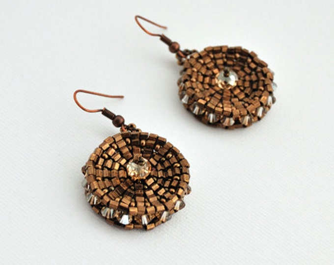 Swarovski Disk Earrings Bronze