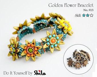 Beading Pattern Tutorial Step by step INSTANT download PDF - Golden Flower Bracelet No. 13