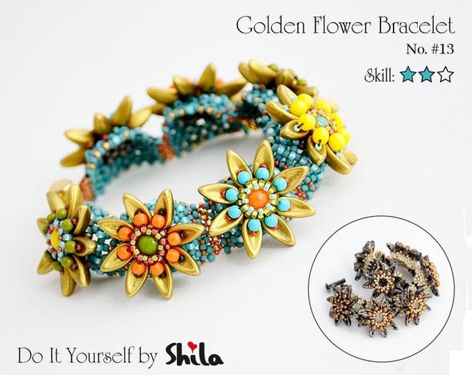 Beading Pattern Tutorial Step by step INSTANT download PDF - Golden Flower Bracelet No. 13