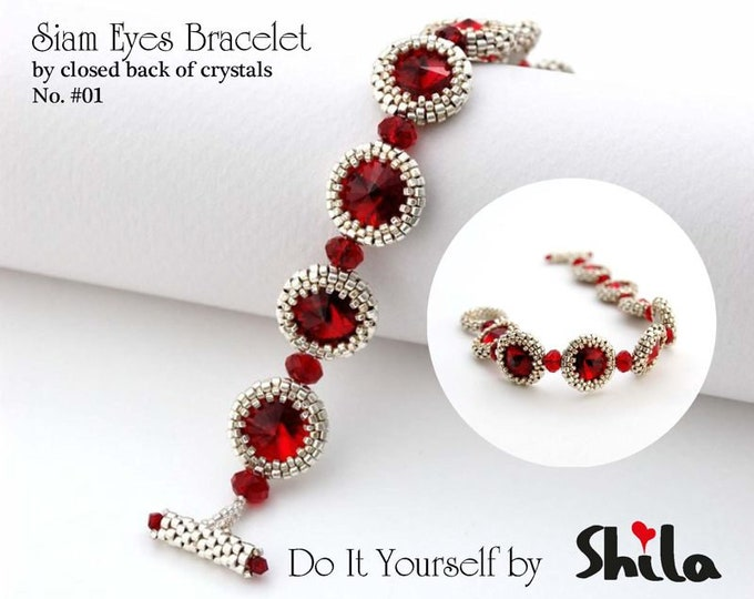 Beading Pattern Tutorial Step by step INSTANT download PDF - Siam Eyes Bracelet No. 01