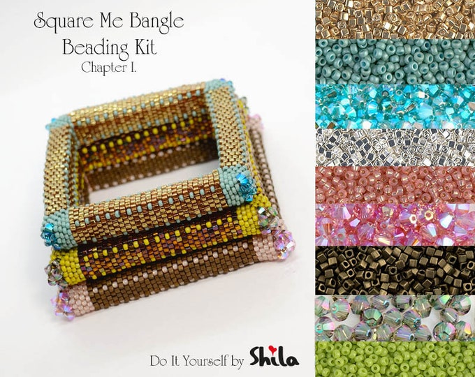 Beading Kit with Miyuki Cube beads and Swarovski Bicones, Square Me Bangle No. 45