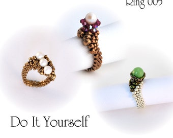 Beading Pattern Tutorial Step by step INSTANT download PDF -  Ring with Pearl No. 05
