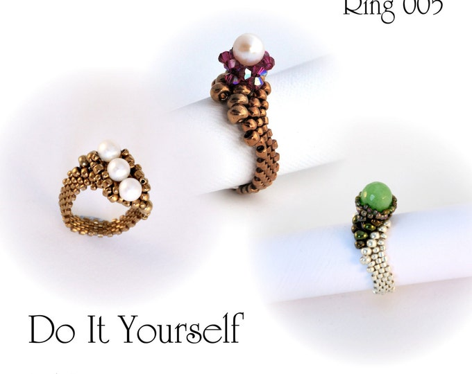 Step by step INSTANT download Pdf beading PATTERN Ring #5