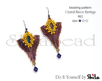 Beading Pattern Tutorial Step by step INSTANT download PDF - Crystal Haven Earrings #62