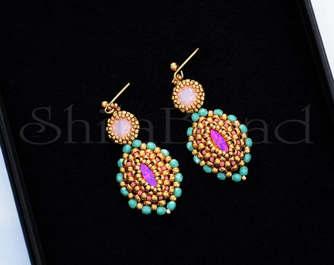 Earrings with Swarovski Crystal Navette  Astral Pink and Chatone Rose Water Opal/Teal