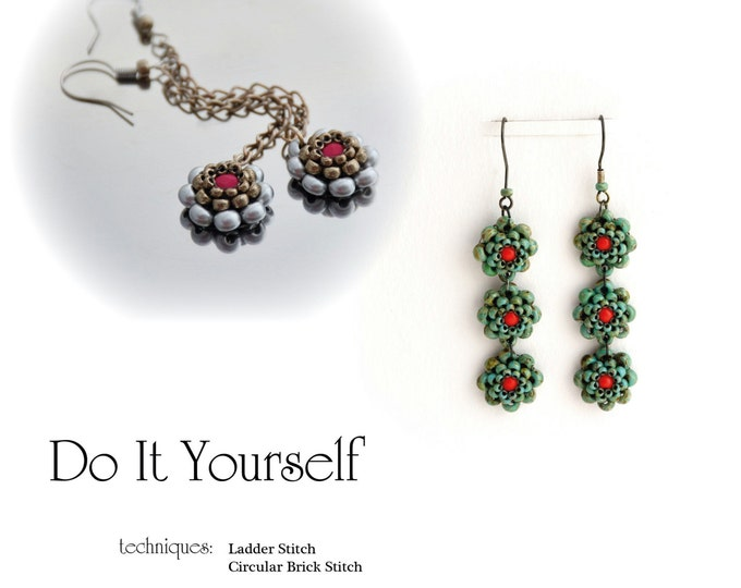 Earrings Step by Step INSTANT download Pdf beading PATTERN #22