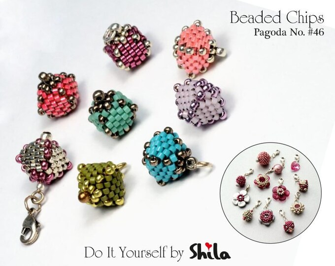 Beading Pattern Tutorial Step by step INSTANT download PDF - Beaded Chips PAGODA No. 46