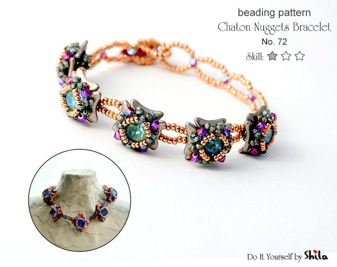 Beading Pattern Tutorial Step by step INSTANT download PDF - Chaton Nuggets Bracelet No. 72