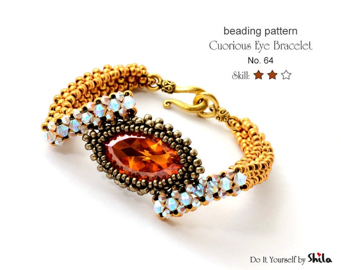 Beading Pattern Tutorial Step by step INSTANT download PDF - Curious Eye Bracelet with crystal cabochon No. 64