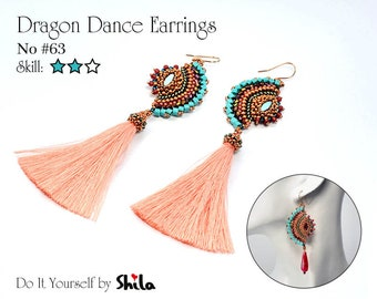 Beading Pattern Tutorial Step by step INSTANT download PDF - Dragon Dance Reloaded Earrings No. 63