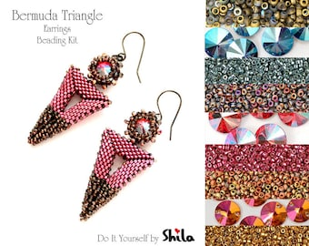 Beading Kit with Miyuki Delica Beads and Swarovski Rivoli 10 mm, Bermuda Triangle Earrings No. 51