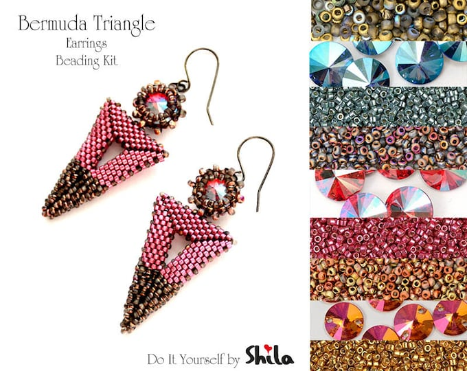 Beading Kit with Miyuki Delica Beads and Swarovski Rivoli 10 mm, Bermuda Triangle Earrings No. 51