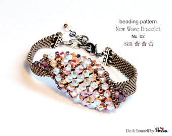 Beading Pattern Tutorial Step by step INSTANT download PDF - New Wave Bracelet with crystals No. 02