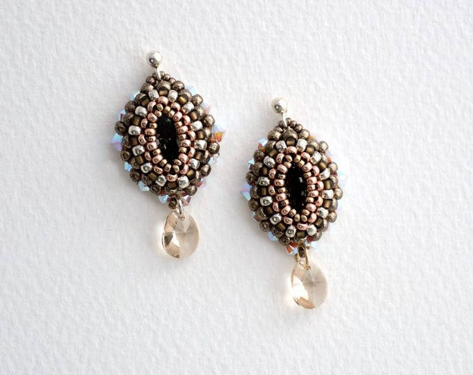 Earrings with Crystal Navette Silver Night/Pewter