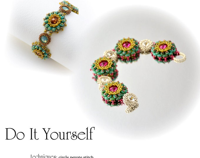 Step by step INSTANT download Pdf beading PATTERN Bracelet #15