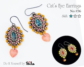 Beading Pattern Tutorial Step by step INSTANT download PDF - Cat's Eye Earrings No. 36