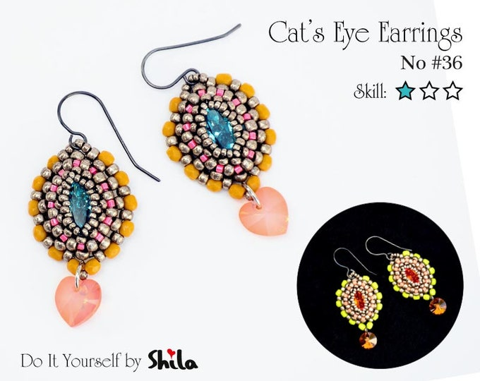 Cat's Eye Earrings Step by step INSTANT download Pdf beading PATTERN #36