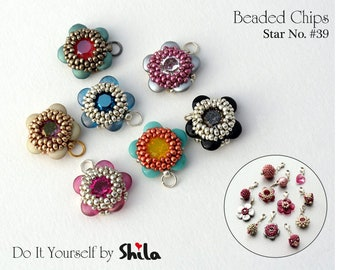 Beading Pattern Tutorial Step by step INSTANT download PDF - Beaded Chips STAR No. 39