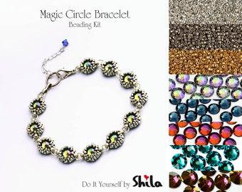 Beading Kit with Miyuki Delica Beads and Swarovski SS34 Flat Back Stones, Magic Circle Bracelet No. 42