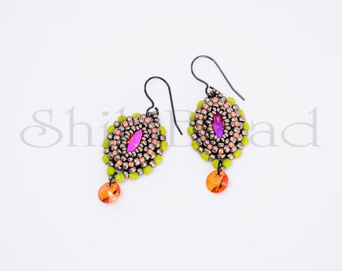 Earrings with Swarovski Crystal Navette Astral Pink/Lime