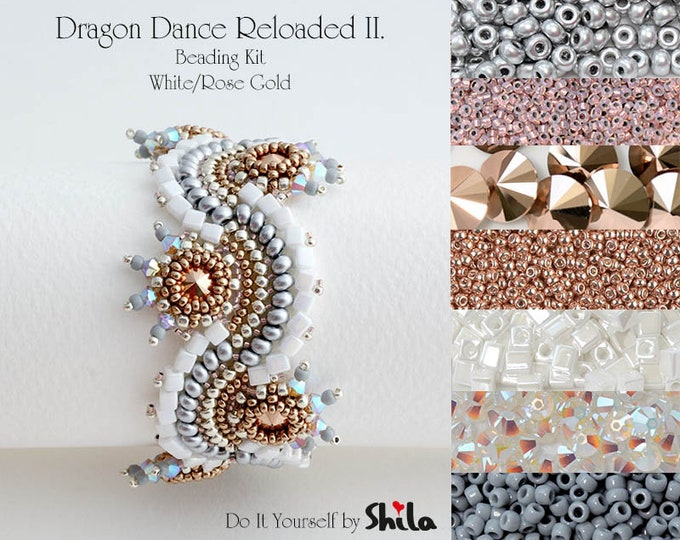 Beading Kit with Bezeled Swarovski Rivoli and Miyuki Cube Beads, Dragon Dance Reloaded II. Bracelet No. 27 White/Rose Gold