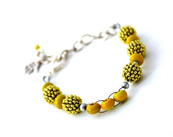 Beaded Jewellery - Bracelet with beaded beads and handmade spacer