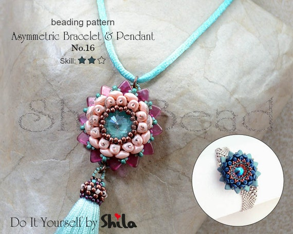 Beading Pattern Tutorial Step by step INSTANT download PDF - Asymmetric Bracelet & Pendant No 16
