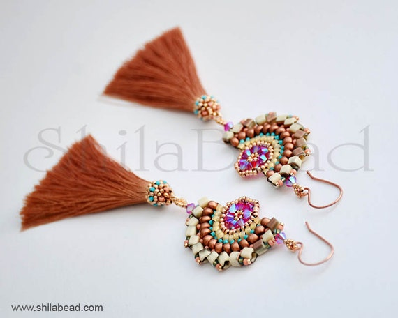Beading Pattern Tutorial Step by step INSTANT download PDF - Dragon Dance Earrings II. No 09