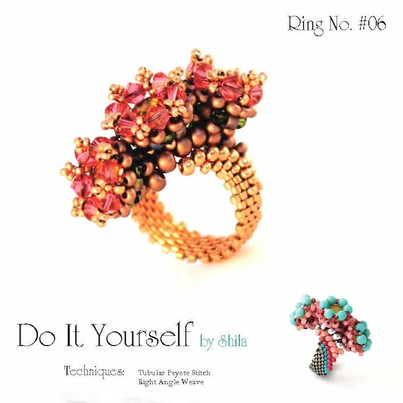 Beading Pattern Tutorial Step by step INSTANT download PDF - Royal Ring No 06