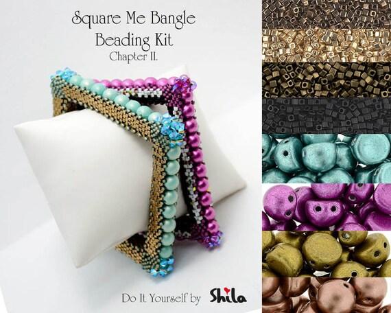Beading Kit with Miyuki Cube beads and Swarovski Bicones, Square Me Bangle No 57