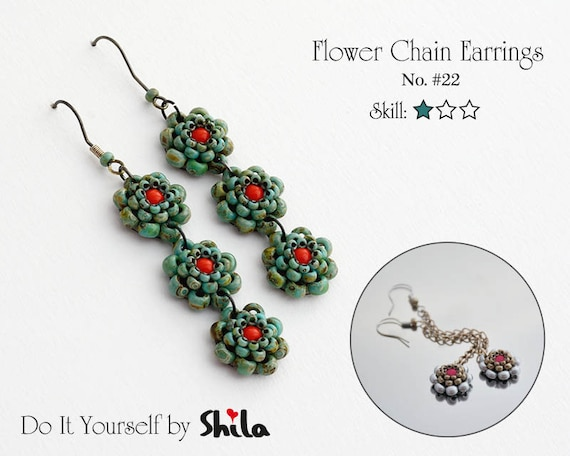 Beading Pattern Tutorial Step by step INSTANT download PDF - Flower Chain Earrings No 22