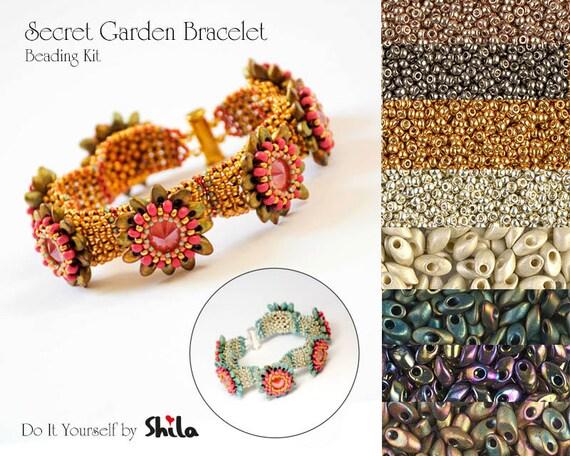 Beading Kit with Long Magatama Miyuki Beads, Secret Bracelet No 17 Gold / Silver / Pewter