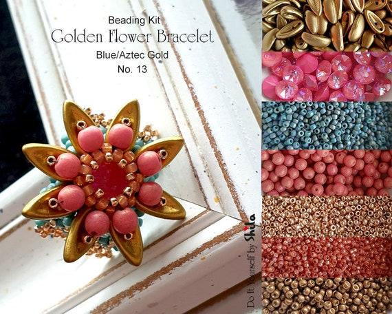 Beading Kit of Golden Flower Bracelet with Chilli beads No 13 Blue/Aztec Gold