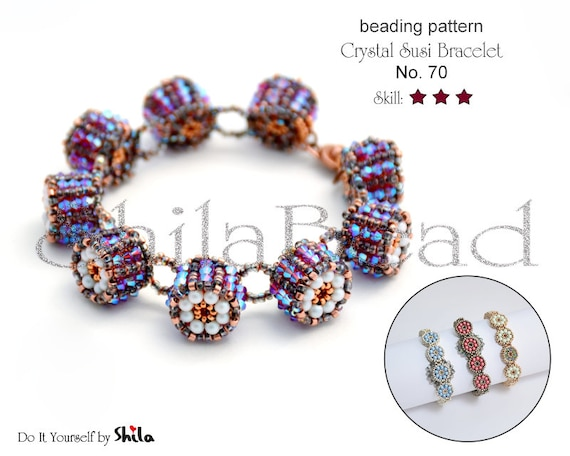 Beading Pattern Tutorial Step by step INSTANT download PDF - Crystal Susi Bracelet with Swarovski Pearls No 70