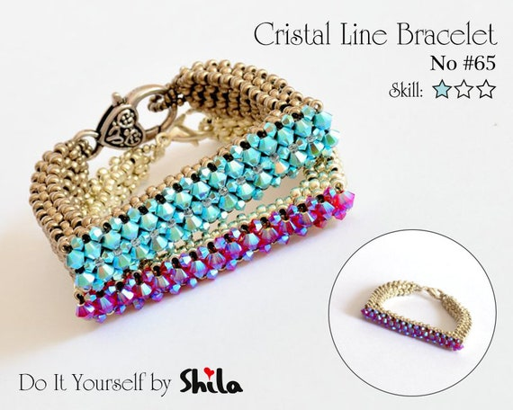 Beading Pattern Tutorial Step by step INSTANT download PDF - Crystal Line Bracelet No 65