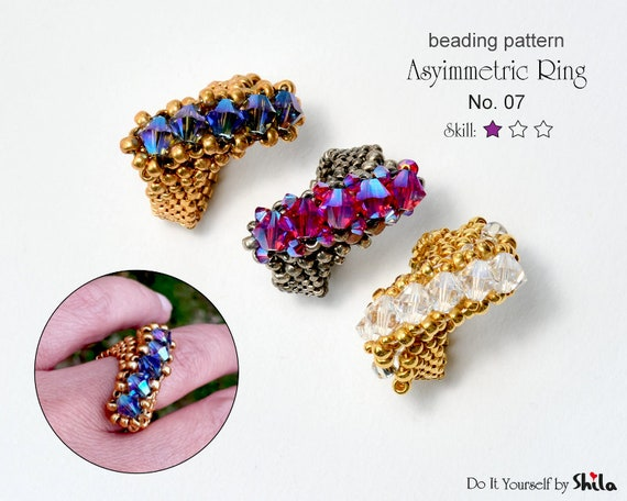 Beading Pattern Tutorial Step by step INSTANT download PDF - Asymmetric Ring I. No 07