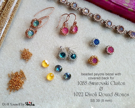 Beading Pattern -  Bezel with covered back for 1088 Swarovski Chaton and 1122 Rivoli Round Stone SS39 8 mm