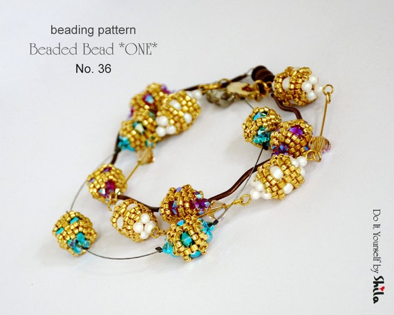 Beading Pattern Tutorial Step by step INSTANT download PDF - Beaded Bead *ONE* No 36